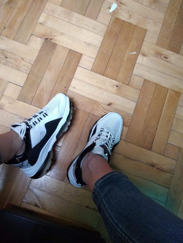 Sportowe Sneakersy biało czarne buty sportowe 39
