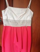 Sukienka Wizytowa Kolorowa Beż za kolana...