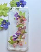 Etui pokrowiec case na telefon ręcznie robione kwiaty...