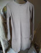 Tunika ciemny beż kieszenie S M 36 38 sweter krótka sukienka