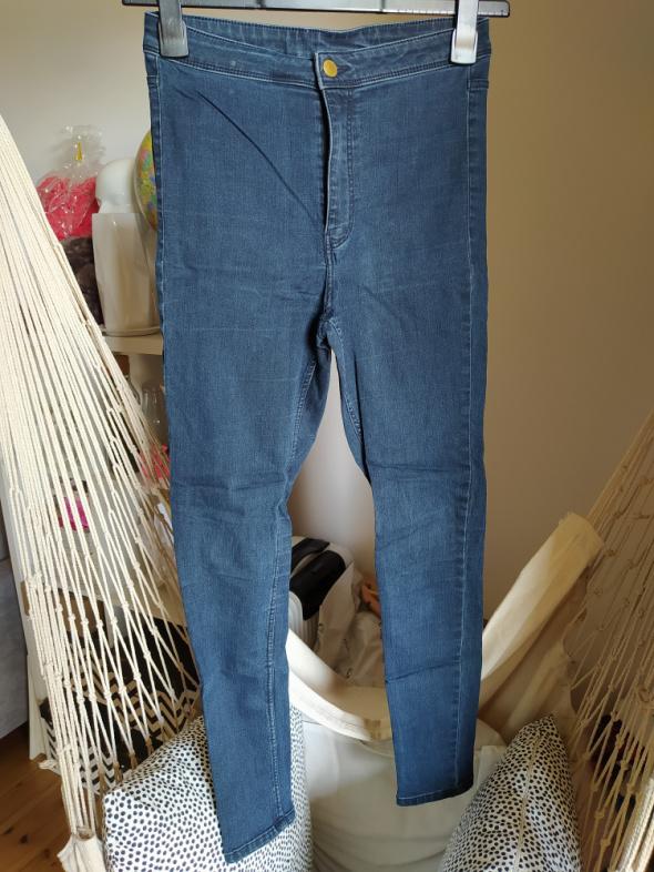 Spodnie Spodnie rurki H&M Divided jeans ciemny 36 S obcisłe elastyczne