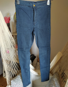 Spodnie rurki H&M Divided jeans ciemny 36 S obcisłe elastyczne...