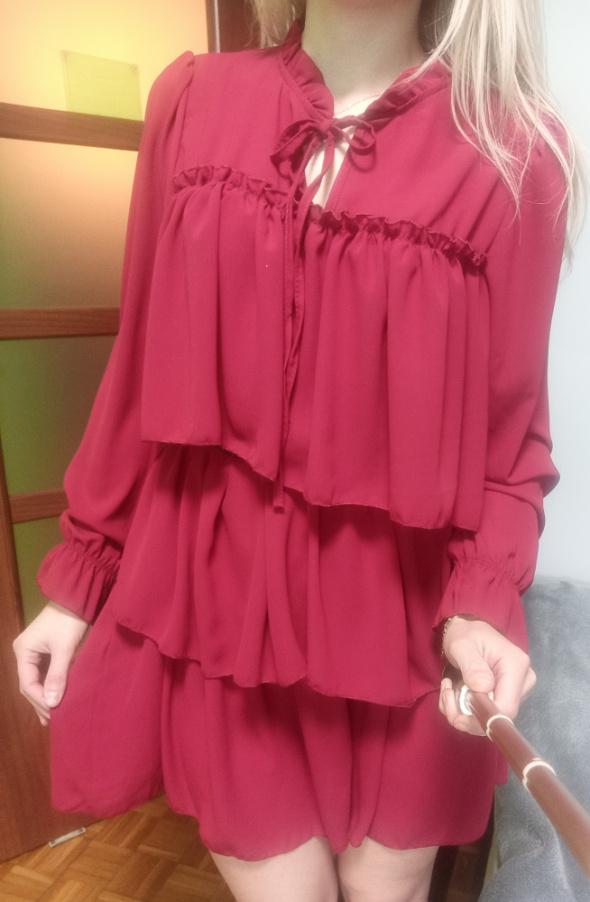 Sukienka falbanki romantyczna zwiewna czerwona boho szyfonowa r...