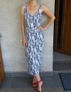 Sukienka maxi na ramiączkach we wzory dopasowana H&M 36