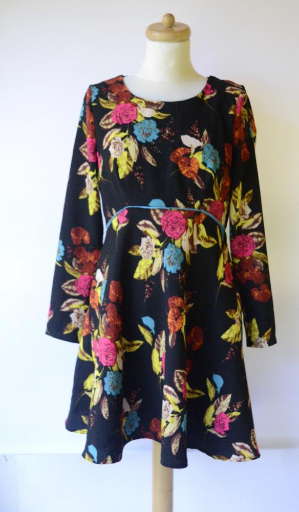 Suknie i sukienki Sukienka Czarna Kwiaty S 36 Louche Rozkloszowana Elegancka