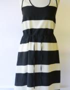 Sukienka H&M Paski S 36 Marynarska Czarna Kremowa...