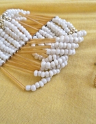 biała bransoletka i kolczyki zestaw białe złoto