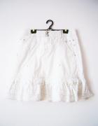 Biała spódnica Etam lato vintage falbany...