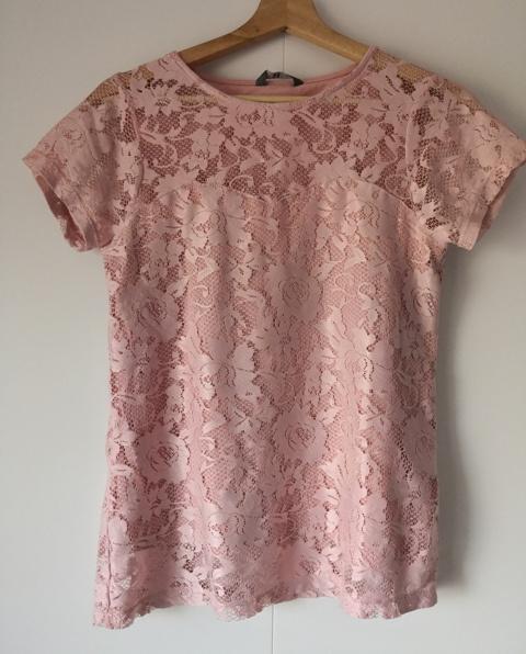 Koronkowa bluzka pudrowy róż