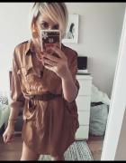 Sukienka koszulowa kamelowa rozm M...