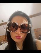Luksusowe duże kwadratowe diamentowe okulary panterka...