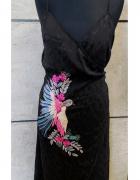Sukienka r 42 czarna haftowana midi ptak...