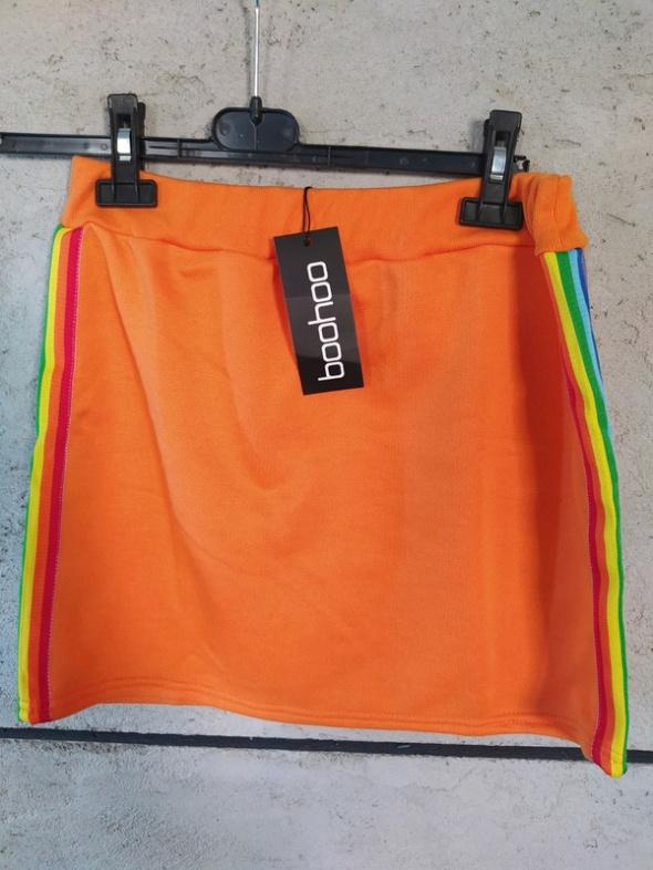 Spódnica pomarańczowa mini lampasy pasy