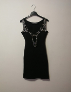 Czarna sukienka boohoo night kamienie xs dopasowana...