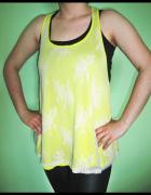 NOWY żółty top bluzka oversize H&M cytrynowa bokserka z koronką...