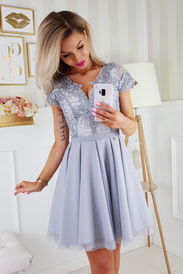 sukienka koronkowa szara 34 36 38 40 42 44 46 kolory