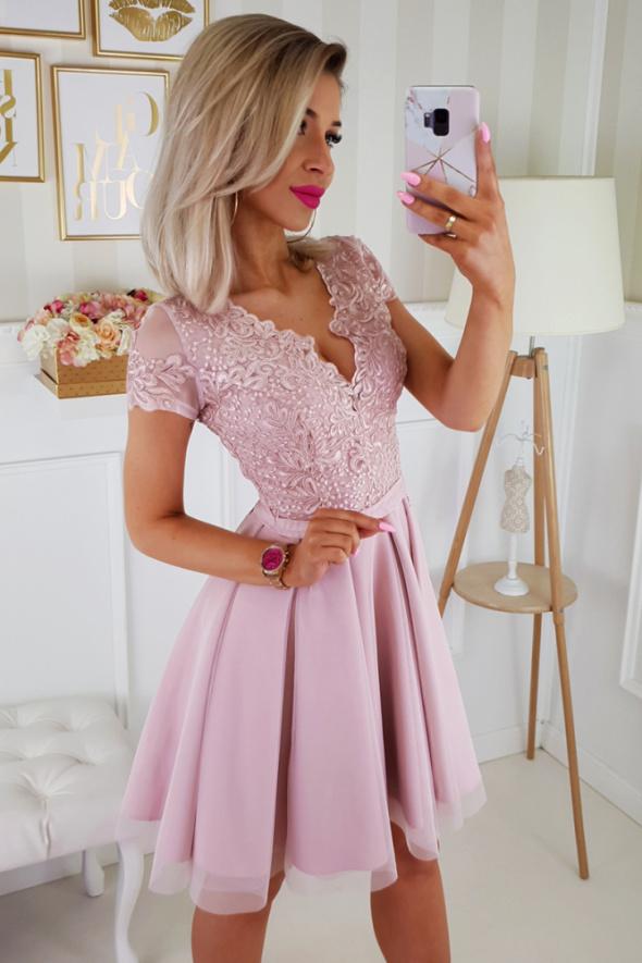 sukienka koronkowa różowa 34 36 38 40 42 44 46 kolory