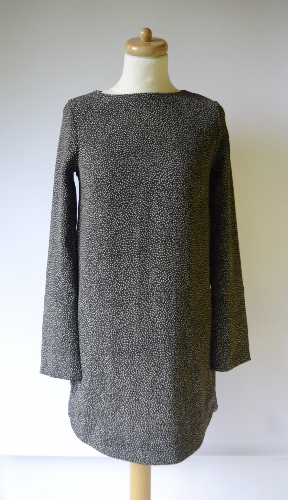 Sukienka Khaki H&M XS 34 Zielona Groszki Kropki Wizytowa