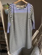 Prosta sukienka paski H&M M 38 przed kolano wygodna luźna 40 L