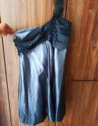 Sukienka bombka na jedno ramiączko jedwabna...