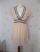 delikatna sukienka szyfonowa S M brzoskwiniowa...
