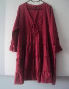 sznurowana sukienka tunika z falbankami...