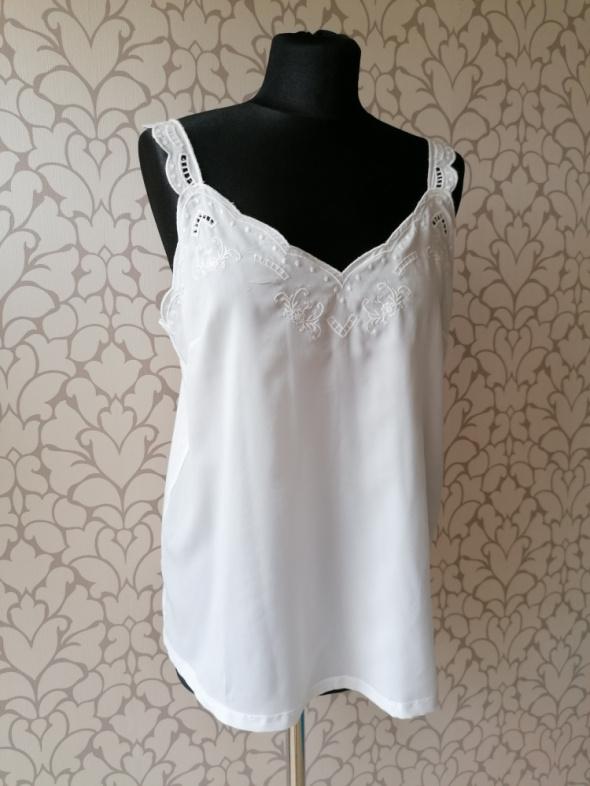 Biała bluzka z haftem jak vintage retro dwumateriałowa Promod M mała wada w opisie