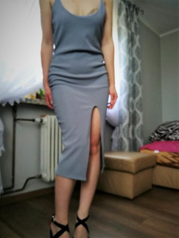 nowa sukienka metki rozporek szaroniebieska