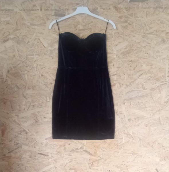 Granatowa welurowa sukienka gorsetowa H&M 38