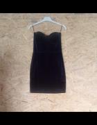 Granatowa welurowa sukienka gorsetowa H&M 38...