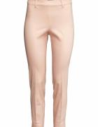 Eleganckie spodnie H&M 44 XXL różowe w kant cygaretki garnituro...
