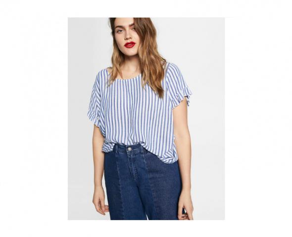 Bluzki Nowa bluzka Mango Violeta 42 XL 44 XXL biała niebieska w pasy wiskoza lekka top tshirt