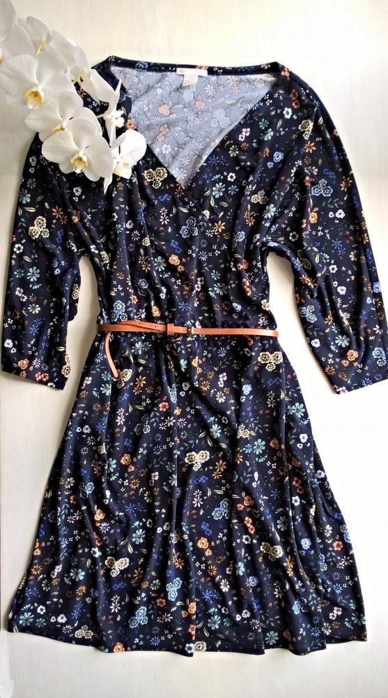 Granatowa sukienka Basic kwiaty flower XL XXL