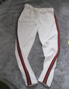 spodnie joggery białe lampasy S M...