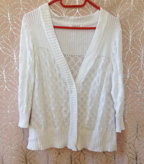 Sweterek kardigan biały Cubus XL 12 używany na zatrzaski zapinany