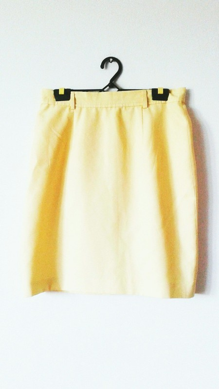 Spódnice Żółta spódnica mini elegancka vintage wysoki stan