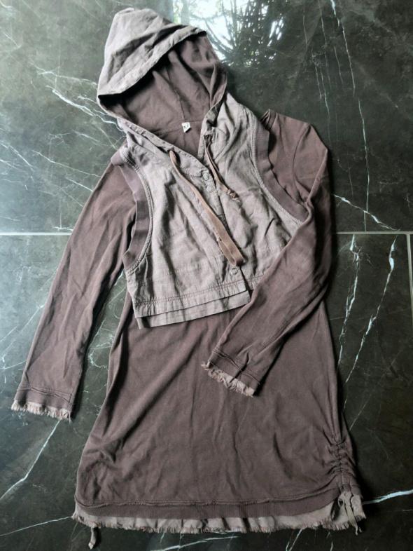 ATTRATTIVO sukienka brązowa z kamizelką z kapturem rozm S 36 stan BDB