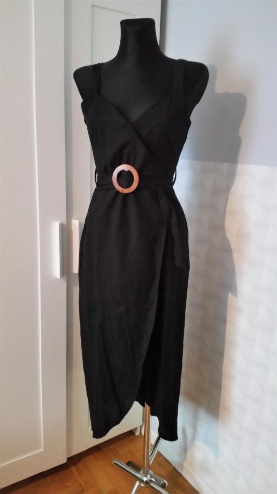Suknie i sukienki Czarna sukienka z paskiem Asos mała czarana