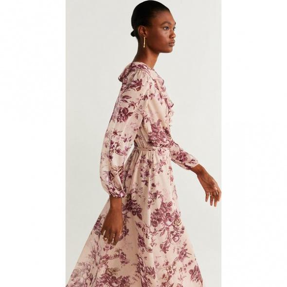 Sukienka kwiaty maxi Mango