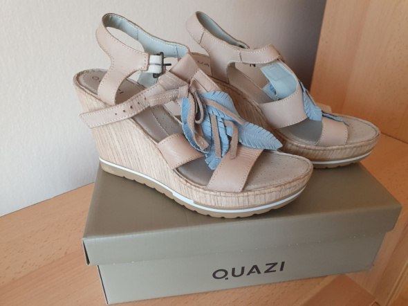 Beżowe Sandałki skórzane firmy Quazi