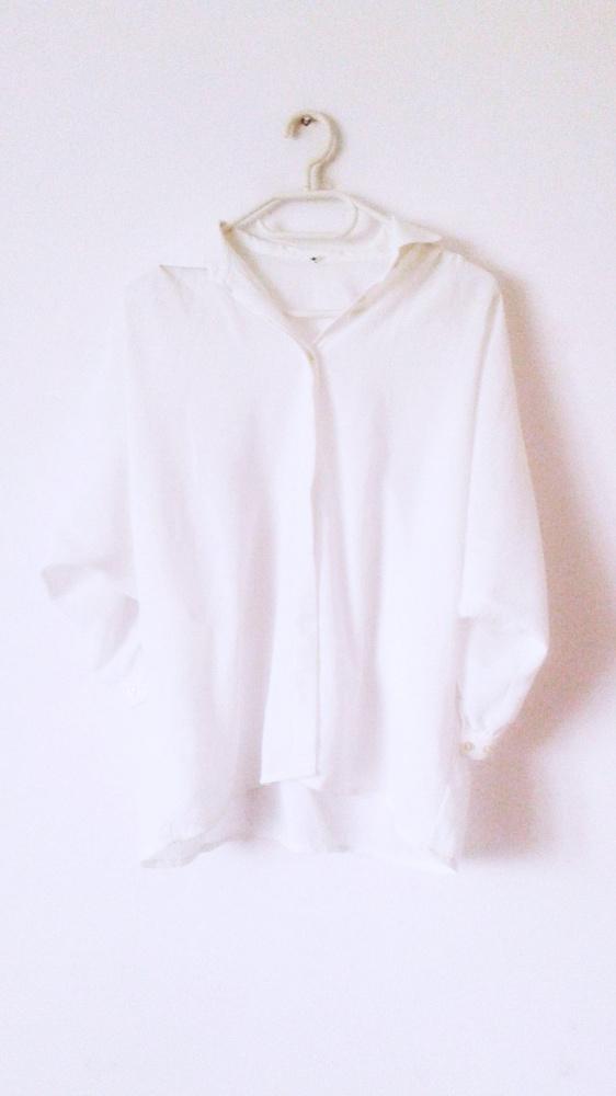 Biała koszula bluzka oversize motyl nietoperz vintage retro