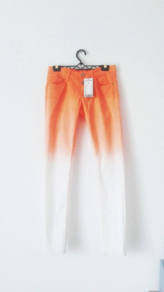 NOWE jeansy rurki pomarańczowo białe ombre pastel goth emo...