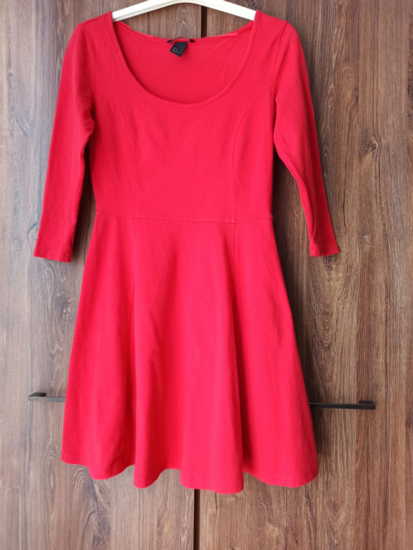 Sukienka H&M czerwona bawełna S...