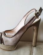 Beżowe sandały słupek skóra Barbara Renzi 39...