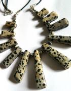 Jaspis dalmatyńczyk stopniowane kamienie naszyjnik kolia...