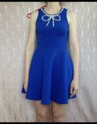 Sinsay niebieska sukienka rozkloszowana XS S M 34 36 38 elastyc...