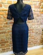 Oliver Bonas sukienka granatowa porter elegancka wesele 38 M