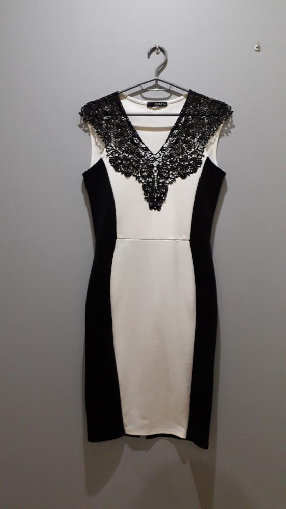 Suknie i sukienki elegancka sukienka czarna biała