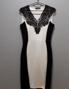 elegancka sukienka czarna biała