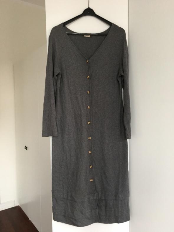 Długa tunika rozpinana bawełniana szara rozmiar XL